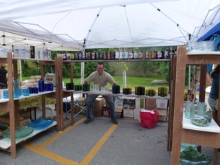 Recycled Glassware tent at the market