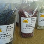Bags of dry beans, black red and white